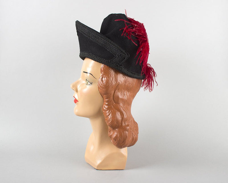 Vintage 1940s Hat | 40s Ostrich Feather Black Wool Felt Tilt Hat Red Plumage Formal Cocktail Hat
