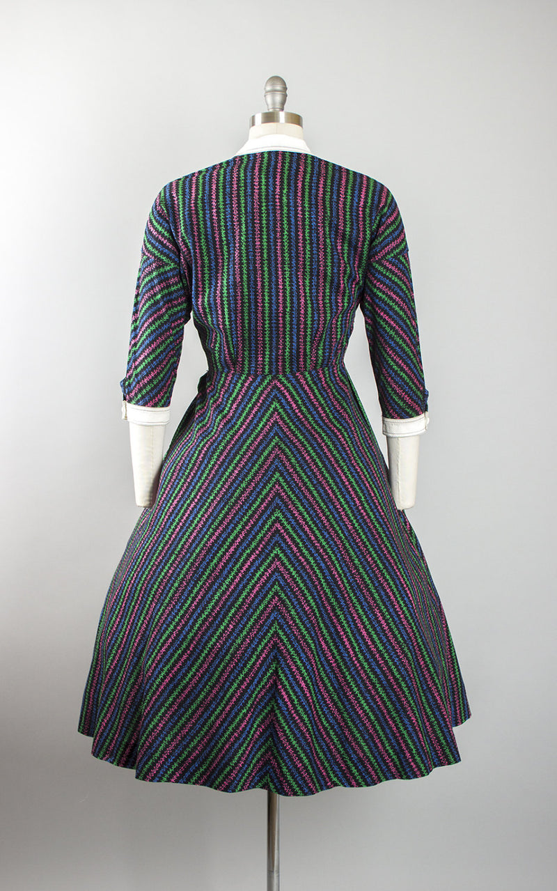 Vintage 1950s Dress | 50s Cotton Novelty Print Striped Shirtwaist Full Skirt Day Dress (small)