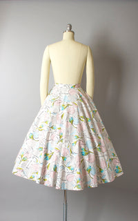Vintage 1950s Skirt | 50s JERRY GILDEN Rose Floral Cotton Rhinestones Full Circle Skirt with Pockets (small)