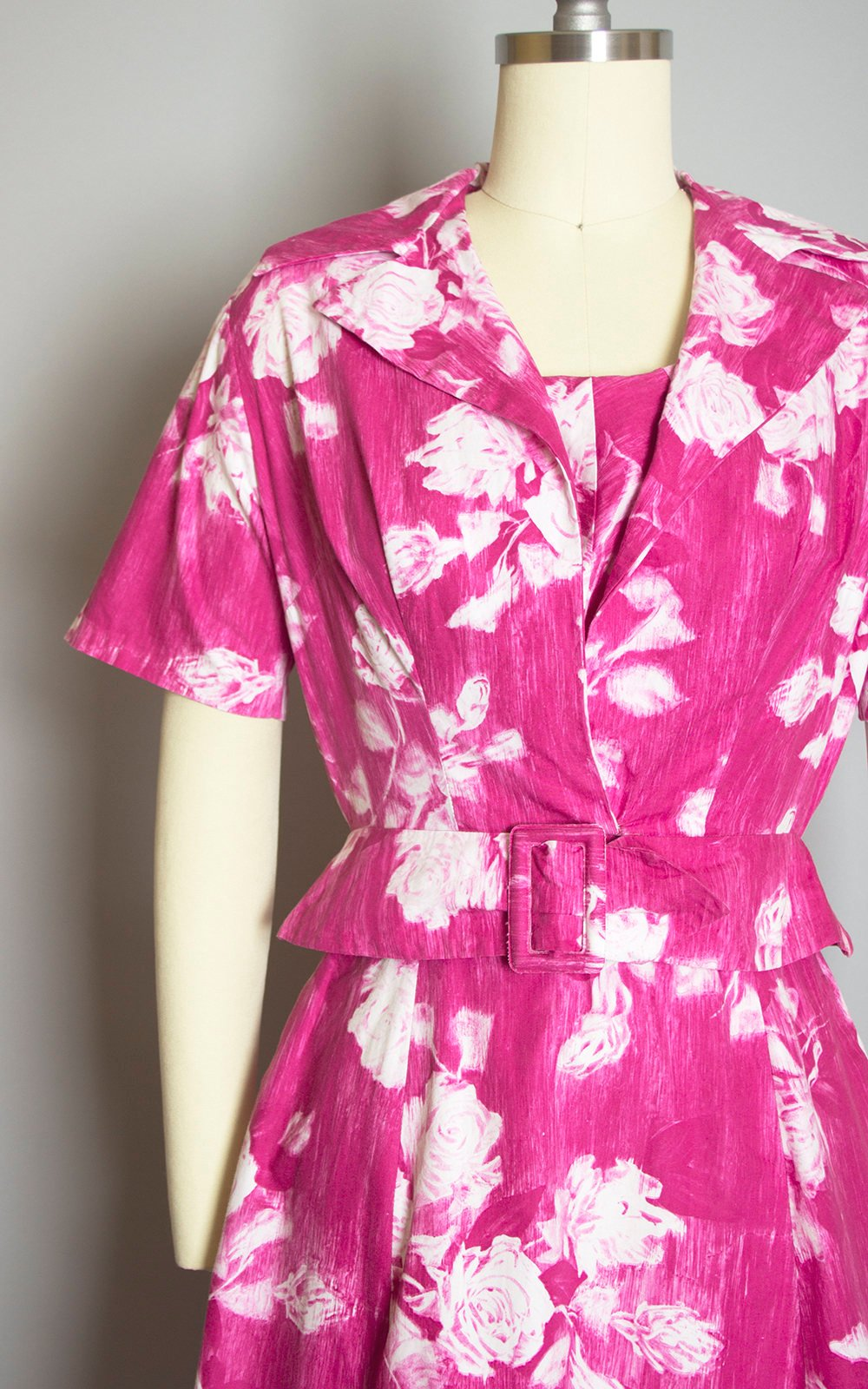 Vintage 1950s Dress Set | 50s Rose Floral Print Cotton Hot Pink Full Skirt Sundress Matching Bolero Jacket (xs)