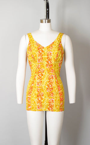 Vintage 1960s Swimsuit | 60s ROSE MARIE REID Rose Floral Print Striped Yellow Pink Open Back One Piece Pin Up Bathing Suit (medium/large)