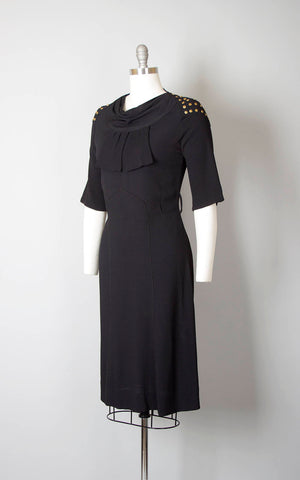 Vintage 1930s Dress | 30s Studded Black Rayon Crepe Evening Cocktail Wiggle Dress (small)
