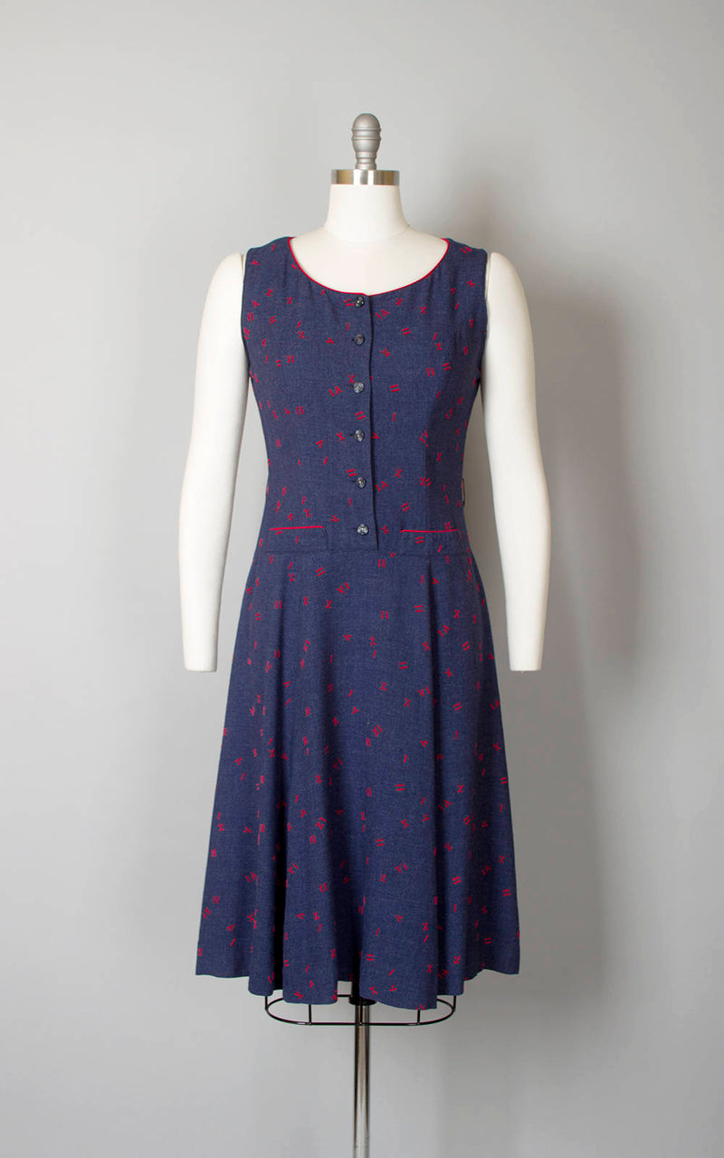 Vintage 1940s Dress | 40s Novelty Print Roman Numerals Cotton Flocked Full Skirt Navy Blue Red Shirtwaist Day Dress (medium)