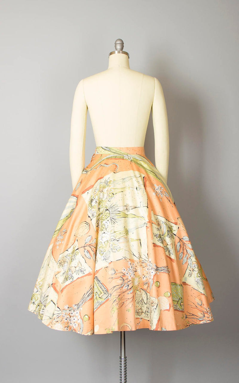 Vintage 1950s Circle Skirt | 50s Novelty Print Cotton Floral Music Guitar Books Peach Glitter Skirt (small)