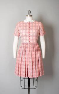 Vintage 1950s Dress | 50s LANZ Sheer Cotton Red Pink Plaid Peter Pan Collar Full Skirt Shirtwaist Day Dress (small)