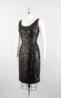 Vintage 1950s Dress | 50s Black Sequin Wiggle Cocktail Party Fully Sequined Evening Dress (medium)