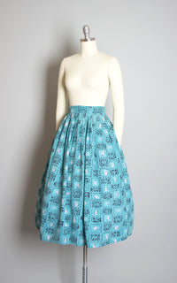 Vintage 1940s Skirt | 40s Blue Floral Novelty Print Rayon Geometric Pleated Full Skirt (x-small)