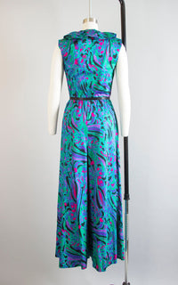 Vintage 1970s Jumpsuit | 70s Cotton Wide Leg Palazzo Pants Teal Psychedelic Tropical Playsuit (small/medium)