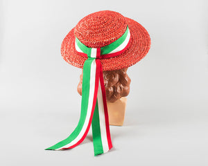 Vintage 1940s Hat | 40s Red Woven Straw Sun Hat Striped Ribbon Mexican Italian Summer Boater Hat (small)