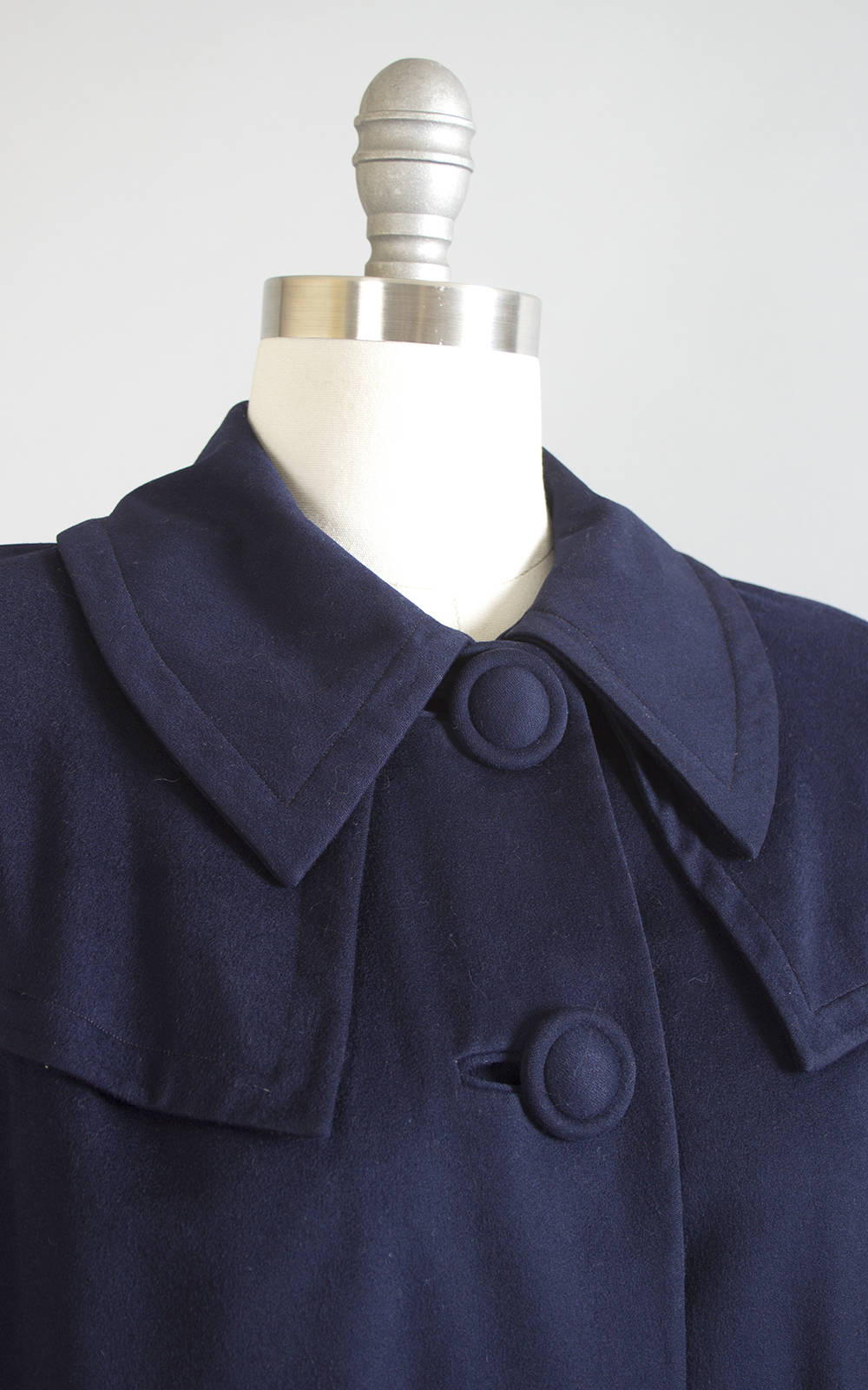 Vintage 1950s Coat | 50s FORSTMANN Navy Blue Wool Swing Coat Minimalist Jacket (medium/large)