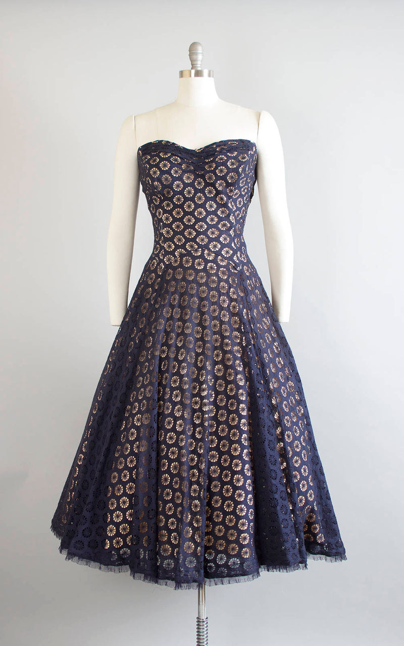Vintage 1950s Dress | 50s Spiderweb Lace Party Dress Nude Illusion Navy Blue Strapless Drop Waist Circle Skirt Evening Gown (medium)