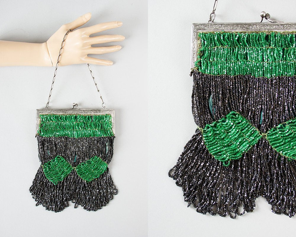 Vintage 1920s 1930s Purse | 20s 30s Beaded Fringe Art Deco Microbeaded Emerald Green Gray Evening Handbag