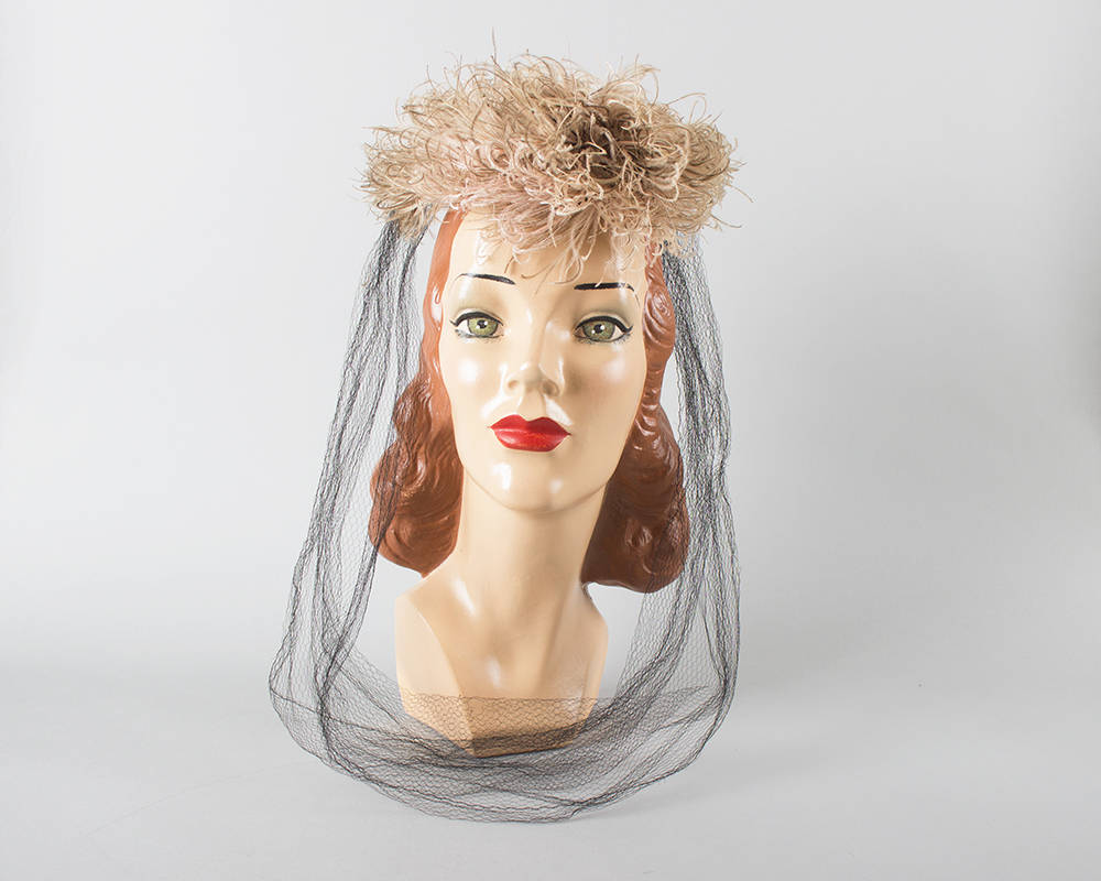 Vintage 1940s Hat | 40s NEW YORK CREATION Pink Ostrich Feather Pom Pom Velvet Long Net Veil Juliet Cap Fascinator