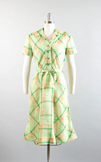 Vintage 1940s Dress | 40s Plaid Sheer Cotton Organza Green Orange Shirtwaist Day Dress (small/medium)