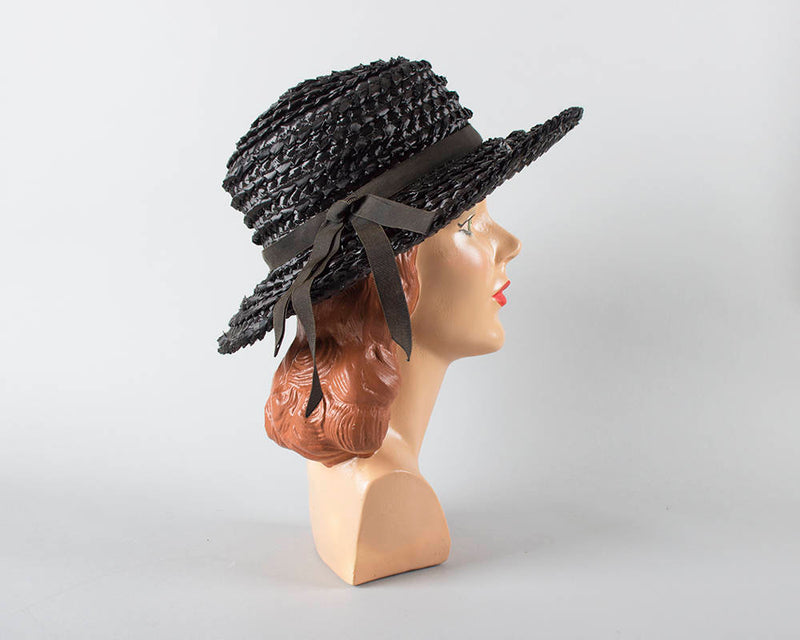 Vintage 1960s Sun Hat | 60s Black Woven Raffia Wide Brim Summer Hat