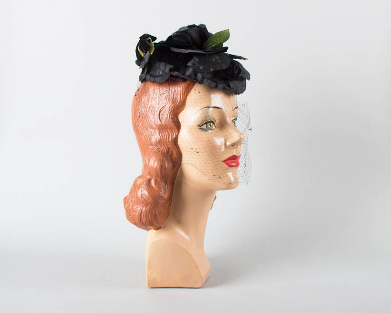 Vintage 1950s Hat | 50s Black Rose Floral Pillbox Formal Cocktail Hat with Veil