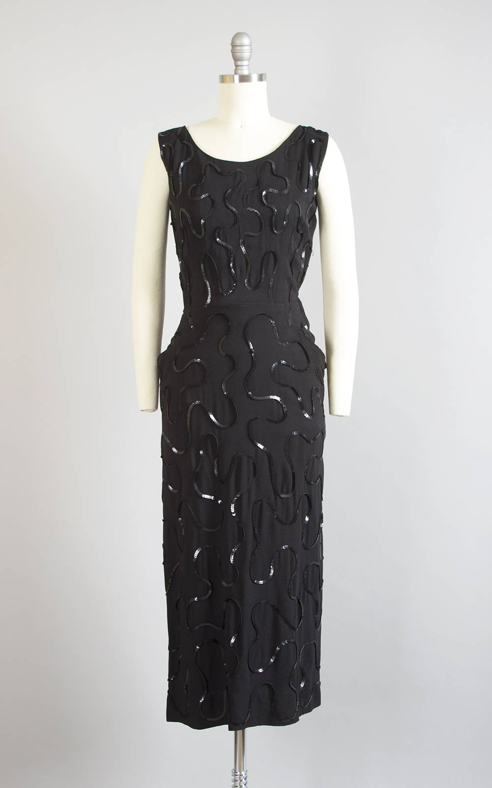 Vintage 1940s Dress | 40s Sequin Soutache Black Rayon Crepe Cocktail Party Wiggle Dress with Pockets (small)