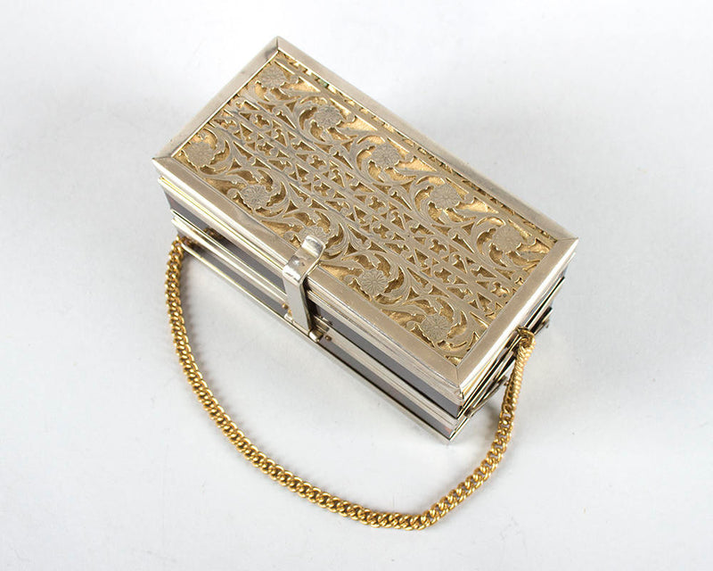 RARE Vintage 1950s Box Purse | 50s TYROLEAN 2-Tray Lucite Metal Gold Tone Floral Filigree Tiger Striped Handbag