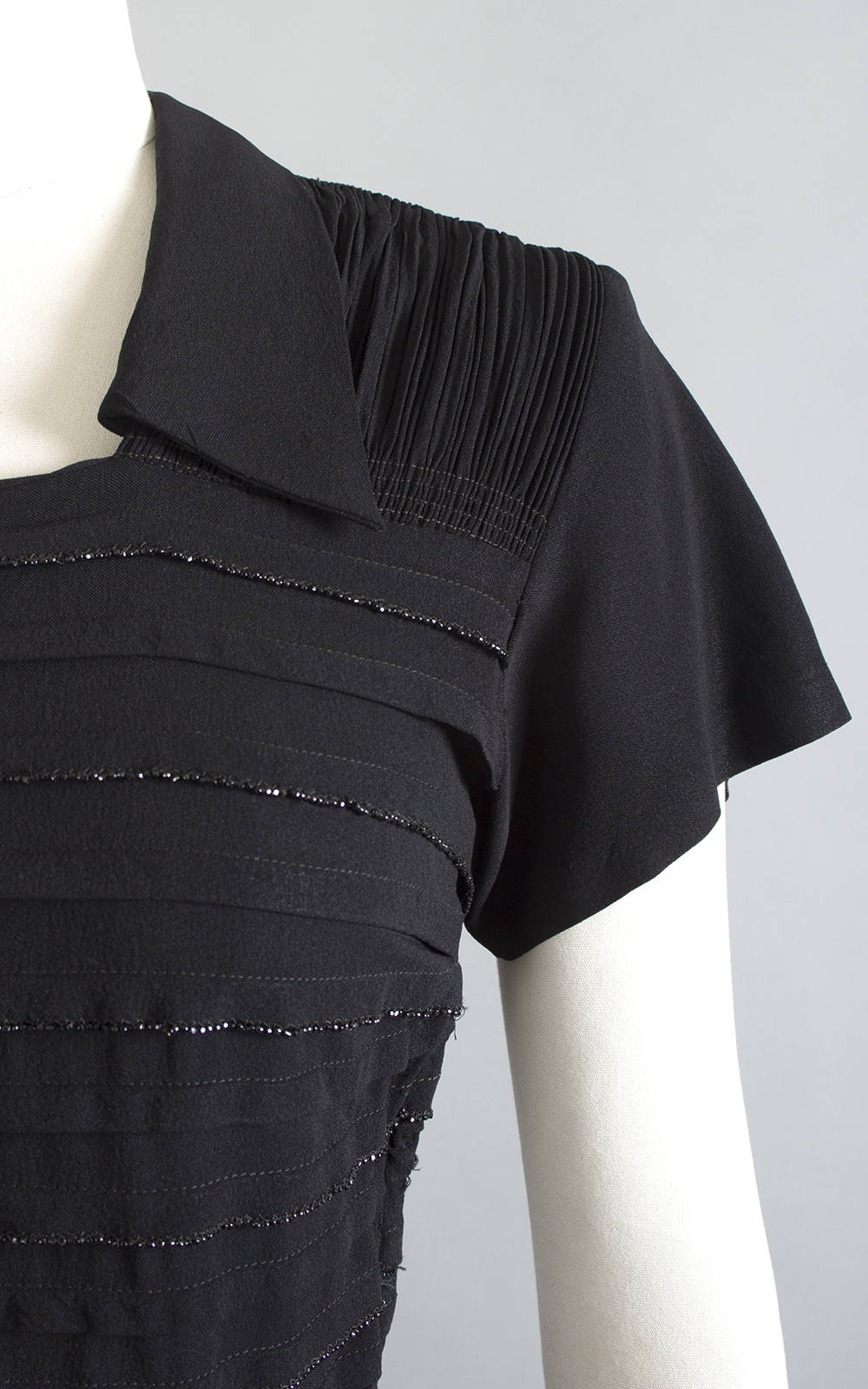 Vintage 1940s Dress | 40s Beaded Black Rayon Pintuck Ruched Full Skirt Cocktail Evening Dress (medium)