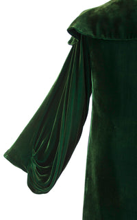 Vintage 1930s Coat | 30s Silk Velvet Dark Green Opera Cloak Ruffled Collar Draped Sleeves Evening Jacket (small/medium)