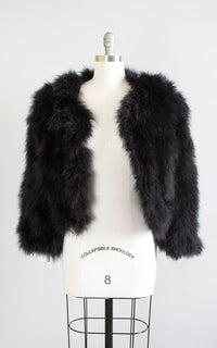 Vintage 1940s Style Jacket | 90s Black Marabou Feather Shrug Cropped Evening Glam Bridal Noir Coat (medium/large/xl)