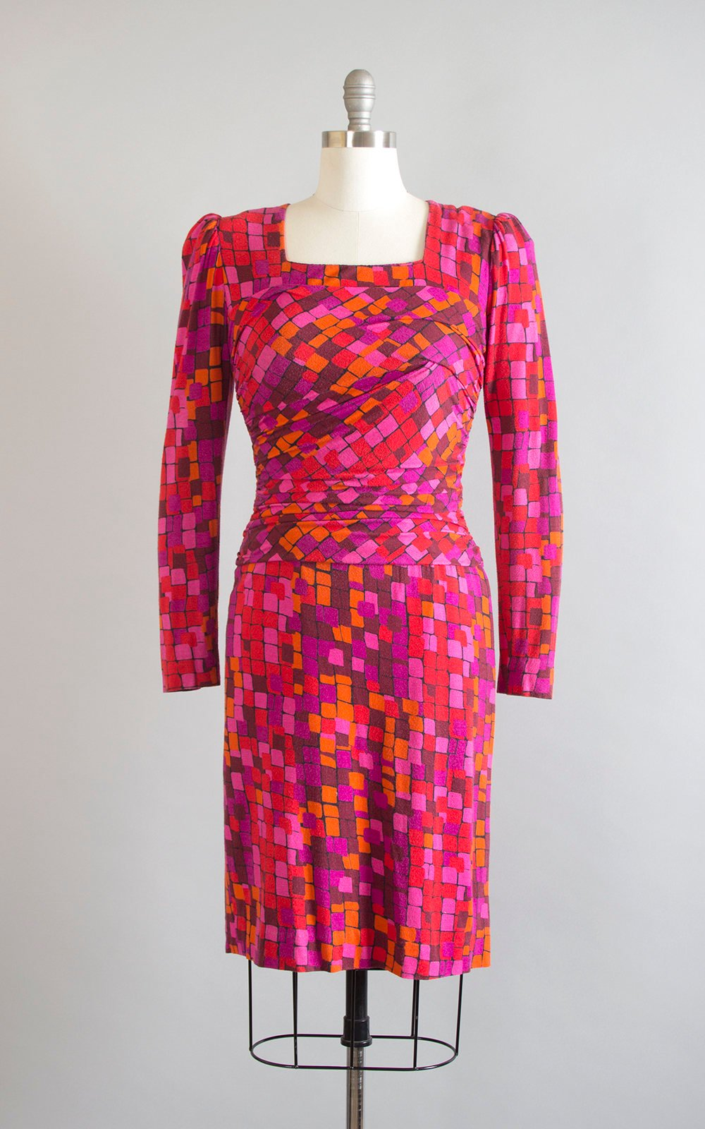 Vintage 1980s Dress | 80s Mosaic Jersey Wool Silk Draped Ruched Long Sleeve Pink Red Purple Wiggle Cocktail Dress (small/medium)