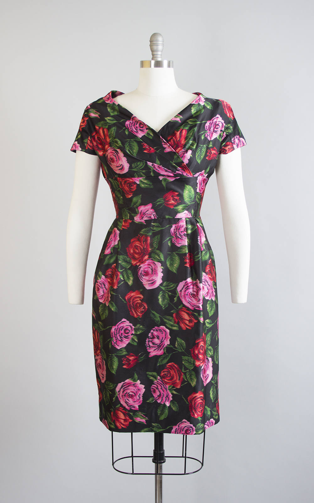 Vintage 1950s Dress | 50s Rose Floral Silk Satin Printed Red Pink Black Wiggle Cocktail Party Dress (small)