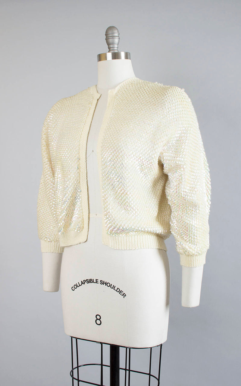 Vintage 1950s 1960s Cardigan | 50s 60s Fully Sequined Knit Wool Cream Cropped Sparkly Sequin Sweater Top (medium/large)