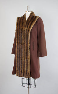 Vintage 1940s Coat | 40s Fur Collar Brown Wool Fur Trim Warm Winter Swing Coat (small/medium)