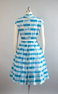 Vintage 1950s Shirt Dress | 50s R&K ORIGINALS Floral Striped Print Blue Cotton Voile Sheer Pintuck Full Skirt Day Dress (medium)