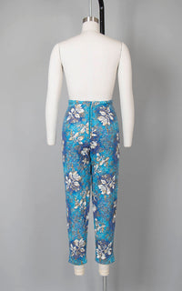 Vintage 1950s Capris | 50s Quilted Hawaiian Floral Print Cotton Blue Metallic Gold High Waisted Pants (small)