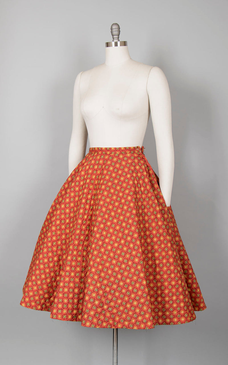 Vintage 1950s Circle Skirt | 50s Quilted Cotton Geometric Red Mustard Yellow Printed Winter Swing Skirt (x-small)