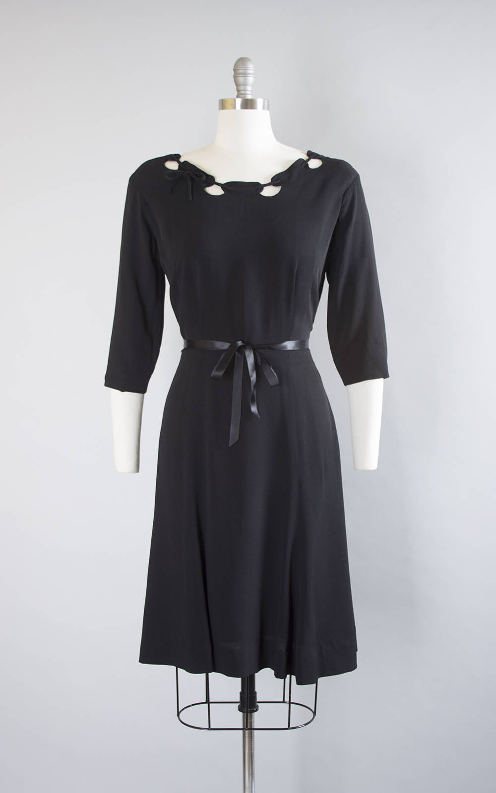 Vintage 1940s Dress | 40s Black Rayon Laced Cutout Neckline Swing Skirt Evening Cocktail Dress (medium)