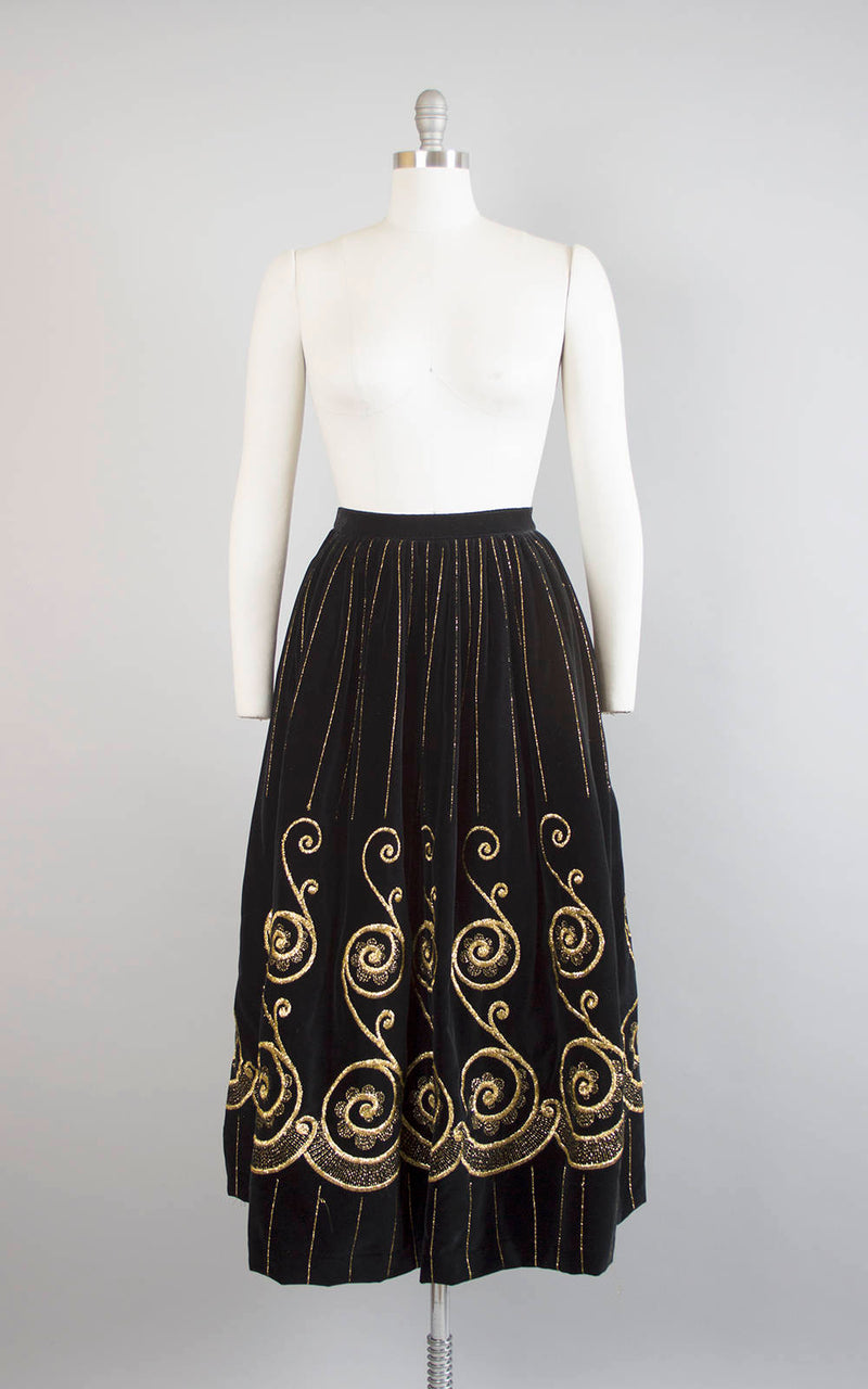 Vintage 1970s Skirt | 70s ADOLFO Black Velvet Metallic Gold Embroidered Striped Border Print Holiday Party Skirt (small)
