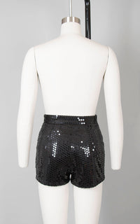 Vintage 1990s Shorts | 90s GUESS Black Sequin Booty Shorts Holiday Party Short Shorts Disco Hot Pants (small)