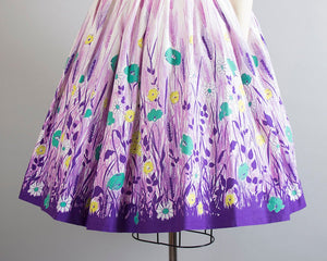 Vintage 1950s Skirt | 50s Floral Wheat Border Print Cotton Printed Purple White Full Swing Skirt (xs)