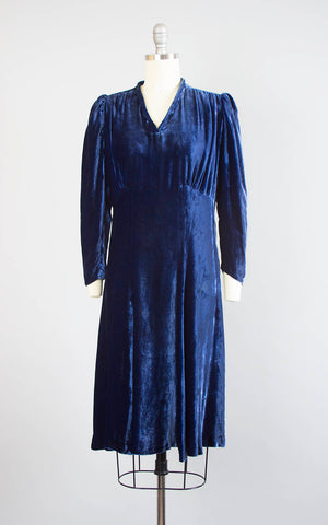 Vintage 1930s 1940s Dress | 30s 40s Dark Blue Silk Velvet Bias Cut Long Sleeve Cocktail Party Evening Dress (small)