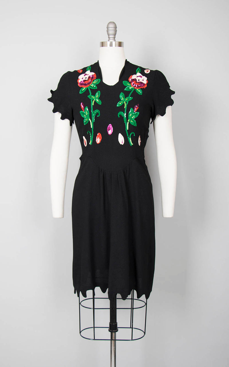 Vintage 1940s Style Dress | Rose Floral Sequin Black Rayon Crepe Cocktail Evening Dress (medium)
