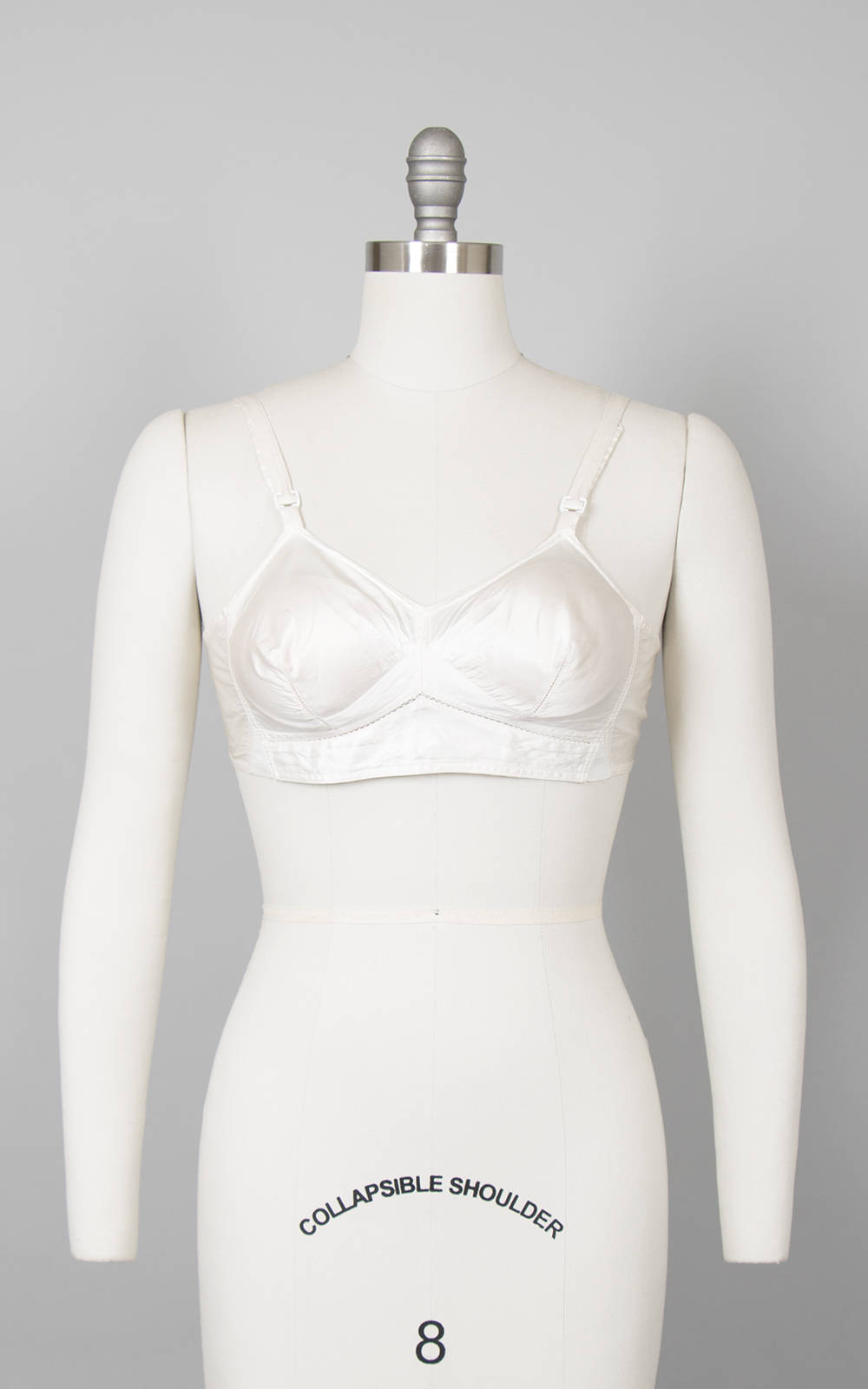 Vintage 1940s 1950s Bullet Bra | 40s 50s Cream Rayon Satin Off White Pointed Pin Up Bra (30B 32B xs)