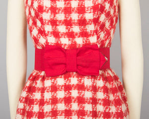 Vintage 1960s Dress | 60s Mohair Checkered Houndstooth Red Open Back Wiggle Bombshell Cocktail Holiday Party Dress w/ Bow Belt (small)
