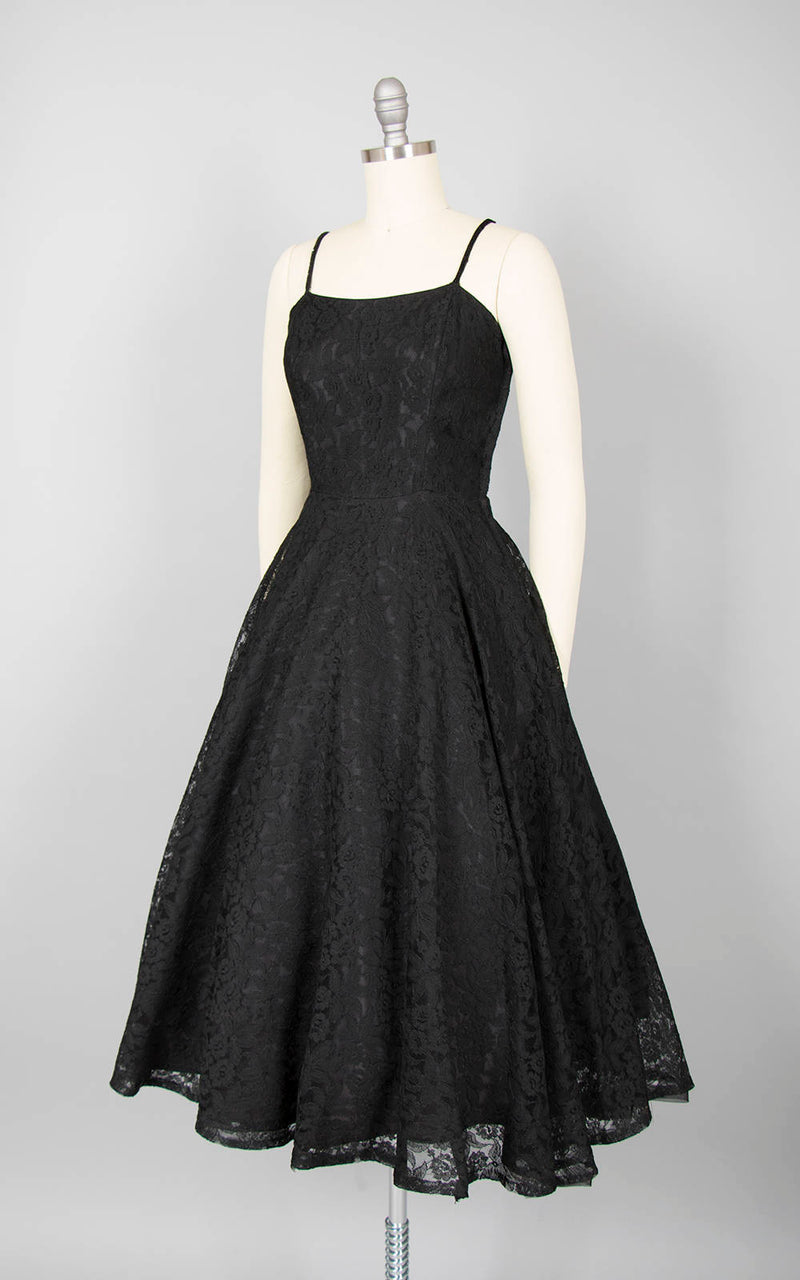 Vintage 1950s Dress | 50s Black Lace Party Dress Sequin Spaghetti Strap Full Skirt Fit and Flare (xs/small)