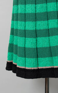 Vintage 1950s Dress | 50s Knit Bouclé Wool Dress Green Black Striped Sweater Dress with Belt (x-large)