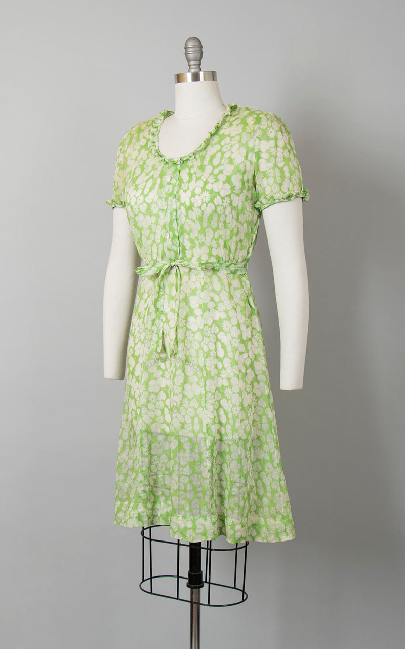 Vintage 1940s Dress | 40s Sheer Organza Foral Printed Green Shirtwaist Day Dress (medium)