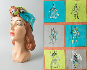 Vintage 1960s Scarf | 60s Silk Novelty Print Royal Court King Queen Jester Large Square Headwrap