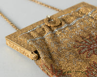 Antique Victorian Handbag | 1900s 1910s 1920s Micro Beaded Floral French Cut Steel Gold Metal Frame w/ Fringe and Mirror Flapper Purse
