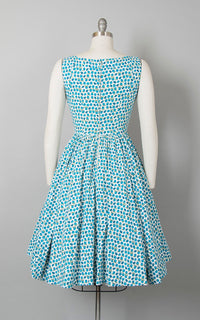 Vintage 1950s Dress | 50s Novelty Print Sundress Cotton Ladybug Apple Blue Full Skirt Day Dress (small)