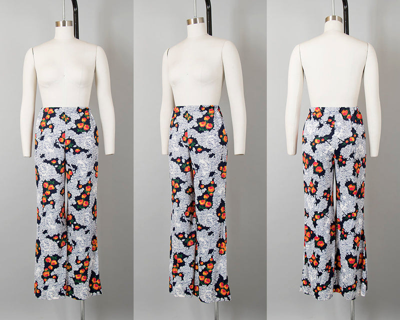 Vintage 1960s 1970s Pant Suit | 60s 70s Lady Novelty Print Butterfly Angel Sleeve Wide Leg Pants Boho Outfit (xs/small)