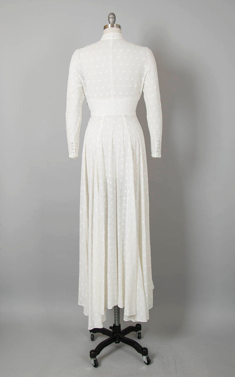 Vintage 1930s 1940s Wedding Dress 30s 40s Sheer White Chiffon Soutache Heart Embroidered Full Length Long Sleeve Bridal Gown (small/medium)