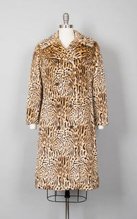 Vintage 1960s Coat | 60s Leopard Print Faux Fur Animal Print Long Winter Peacoat Jacket (medium)
