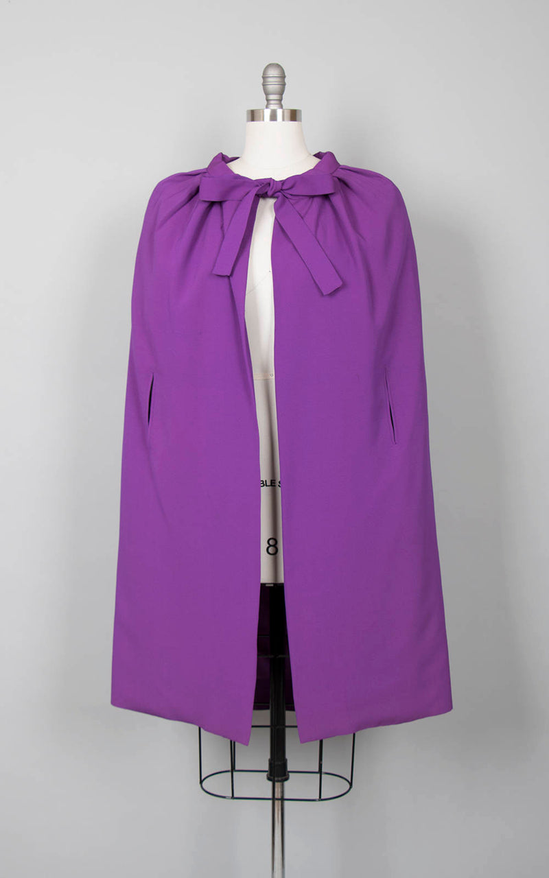 Vintage 1960s Cape | 60s JACQUES HEIM by Maria Carine Purple Rayon Cape Evening Opera Cloak (xs/small/medium)
